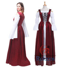 Women Wine Retro Renaissance Medieval Lace-Up Costume Gown Over Dress & Chemise