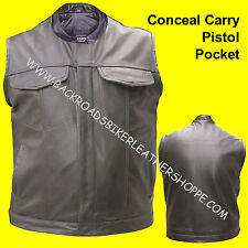 SOA Outlaw Buffalo Leather Biker Motorcycle Vest Conceal Carry Single Panel Back