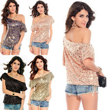 Women Sexy Sequined Bling Shiny Tank Top Casual Loose Shirt Off Shoulder Blouse