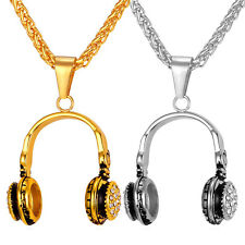 Men's Hip Hop Stainless Steel Headphone Pendant Necklace 18K Gold Plated Jewelry