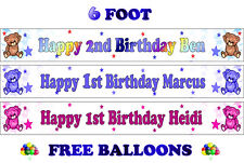 2 PERSONALISED BIRTHDAY PARTY BANNERS NAME PHOTO AGE pink brown blue girl boy D2