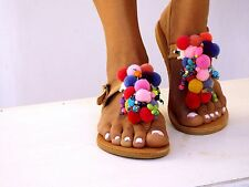 Alkioni, Pom Pom sandals, Handmade leather sandals, T-strap sandals, boho sandal