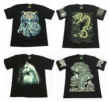 4 Design Glow In The Dark T-Shirt Animal Dragon Fish Horse Tiger Mens Rock Eagle