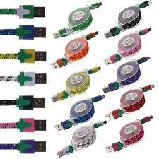 Retractable Braided Flat Micro USB Data Sync Charger Cable For Android Samsung