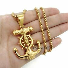 Gold Jesus Cross Anchor Solid Stainless Steel Charm Pendant Chain Necklace set