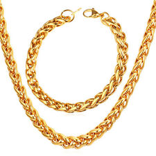 Stainless Steel 18K Gold Plated Wheat Chain Necklace Bracelet Sets 3MM 6MM 9MM