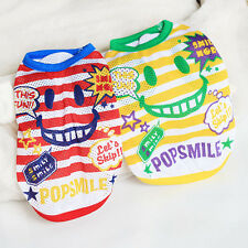 Dog Striped T-Shirt Vest Pet Puppy POP SMAILE Clothes Dog Summer Shirt , XS S