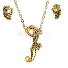 Silver Gold Leopard Crystal Pendant Necklace And Earrings Women Jewelry Set