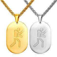 316L Stainless Steel Boxing Dog Tag Pendant Necklaces 18K Gold Plated Jewelry