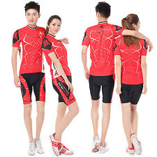 Women Men Breathable Cycling Jersey and Short Set Bike Clothing Short Sleeve Red