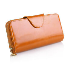 Long Zip Wallet Phone Card Holder Case Purse Women's Ladies 100% Genuine Leather