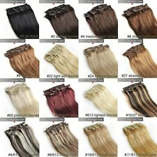 14''18''20''22''24''28'' Clip in Remy Extensions 100% Human Hair Full Head Cheap