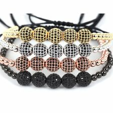 Mens Macrame Bracelet Braided 18K 4mm 8mm Balls Charm Beads Bangle Handmade Gift