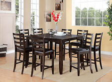 FAIRWINDS DINETTE COUNTER HEIGHT TABLE DINING SET W/ LEATHER SEAT IN CAPPUCCINO