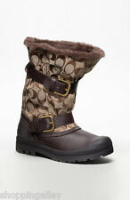 New Coach Holiway Mid BOOTS Shearlings Shoes Embossed CC Khaki Brown A7235