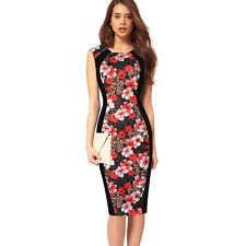 Fashion Women's Printing Sleeveless Slim Waist Office Dress Ladies' Wear to Work