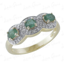 9ct Gold 0.42ct Emerald & Diamond Trilogy Ring WITH GEM CARD RRP £499.99 BLG5