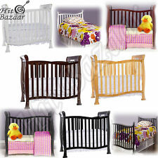 Convertible 4-in-1 Crib Mini Baby Bed Infant Nursery Wood Furniture