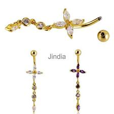 Belly Cross Dangle Button Bar Navel Ring Piercing Jewelry Crystal Rhinestone