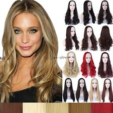 Long Straight Curly 3/4 Full Head Wig Cosplay Party Clip In Fringe Fashion Style