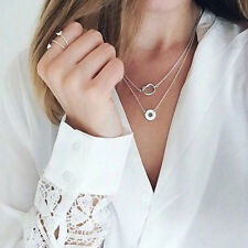 1Pc Multilayer Circle Clavicle Pendant Chains Necklace Fashion Women Jewelry