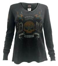 Harley-Davidson Women's Flaming Skull Thermal Long Sleeve Shirt, Black 5T21-HB7A
