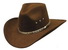 Western Brown Faux Felt Cowboy Cowgirl Hat Pinch Front Multiple Sizes