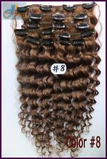 10pcs Curly Wavy Remy Human Hair Clip In Real Hair Extension Ash Brown Full Head