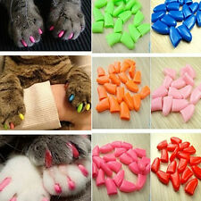 20pcs Soft Cat Pet Nail Caps Claw Control Paws off +Adhesive Glue Size XS-XL CN