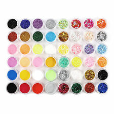 48pcs Nail Art Glitter Dust Powder For UV Gel Acrylic Decoration Set Tips