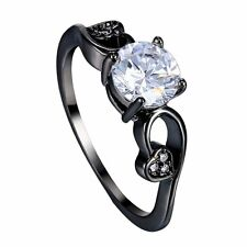 Size 7-9 Popular Elegant Lady White Sapphire Black Gold ing Jewelry Gift Gift