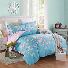 4PCS Set Hot Cotton Cartoon Flower King Size Bed Duvet Cover Bedsheet Pillowcase