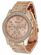 Womens Boyfriend Watch Chronograph Style Cubic Zirconia Bezel Rose Gold Silver