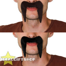 BLACK BROWN 1960'S 1970'S MOUSTACHE TASH HIPPIE COWBOY FANCY DRESS STICK ON