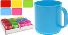 Set of 12 Plastic Mugs 5 Colours Nursery School Children's Mugs Camping Mugs