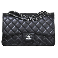 Chanel Jumbo Classic Double Flap Black Lambskin Leather Handbag