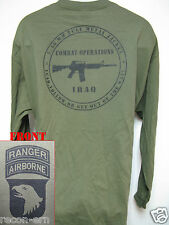 101 AIRBORNE RANGER LONG SLEEVE T-SHIRT/ IRAQ COMBAT OPS/ MILITARY/ ARMY / NEW