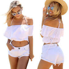 Women Summer Sexy Off Shoulder Halterneck Casual Layered Short Crop Top Blouse