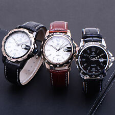 Black White Mens Boys Date Analogue Wristwatch Leather Quartz Watch + Gift Box
