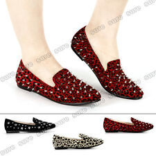 Ladies Flat Studded Suede Womens Slip On Loafers Pumps Stud Spike Shoes
