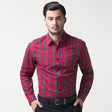 PJ Mens Slim Luxury Premium Casual Dress Shirts Long Sleeve Red Plaid Luxury New