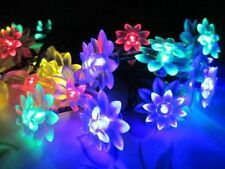 Solar Powered Fairy String Lights 20 Led Lotus Flower Christmas Party Decor Lamp