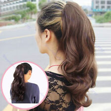 Women Long Wavy Curly Ponytail Clip Scrunchie Hair Hairpiece Extension Pony Wigs