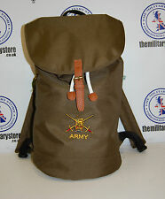 Army Embroidered Classic Drawcord Duffle Backpack Bag - Military Green