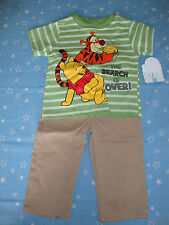 "DISNEY POOH & TIGGER COTTON PANTS & SHIRT NWTS  ""LOOKING FOR HONEY"""