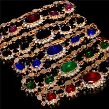 Gorgeous Lady's Bracelet Bangle 18K Gold Filled Colorful Austrian Crystal