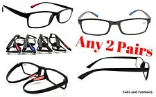 2 PAIRS Mix N Match TR90 Material Reading Glasses 4 Colours +1.0+1.5+2.0+2.5