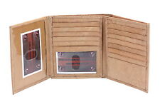 Mens Hipster Wallet Flap Out Picture Window 20 Credit Cards Genuine Leather New