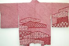 Vintage Japanese Wine Red Silk Kimono Haori Jacket Fully Shibori 'Clouds' 10-14