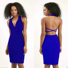 New Topshop Blue Halter Neck Midi Plunge Dress Size 6-8-10-12-14 RRP £45